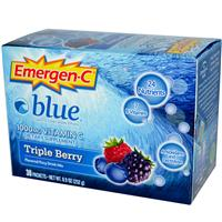 Alacer, Emergen-C, Blue, 1000 mg Vitamin C, Triple Berry, 30 Packets, 8.4 g Each