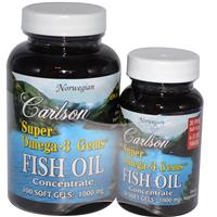 Carlson Labs, Super Omega&#183,3 Gems, Fish Oil Concentrate, 1000 mg, 100 Soft Gels + Free 30 Soft Gels