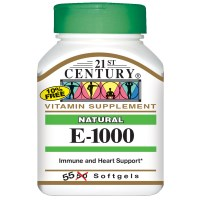 21st Century, E-1000, Natural, 55 Softgels