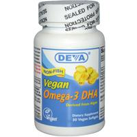 Deva, Omega-3 DHA, Derived from Algae. 30 Vegan Softgels