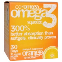Coromega, Omega3 Squeeze, Orange Smoothie, 30 Squeeze Packets, 2.5 g Each