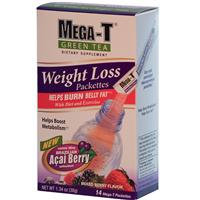 Mega-T, Weight Loss Packettes, Green Tea with Acai Berry, Mixed Berry Flavor, 14 Packettes, 2.7 g Each