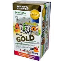 Nature's Plus, Source of Life Animal Parade Gold, Children's Chewable Multi-Vitamin &amp, Mineral Supplement, Natural Assorted Flavors, 120 Animals