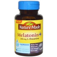 Nature Made, Melatonin + L-Theanine, 200 mg, 60 Liquid Softgels