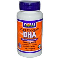 Now Foods, Kid's Chewable DHA, Fruit Flavor, 100 mg, 60 Softgels