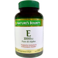 Nature's Bounty, Vitamin E, Pure Dl-Alpha, 1000 IU, 60 Rapid Release Softgels
